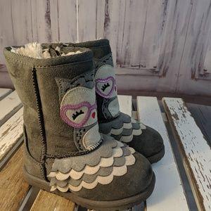 Okie Dokie owl winter snow warm boots shoes girls